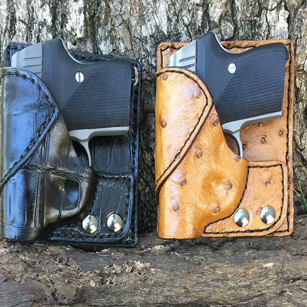 Exotic covered over leather back pocket holster