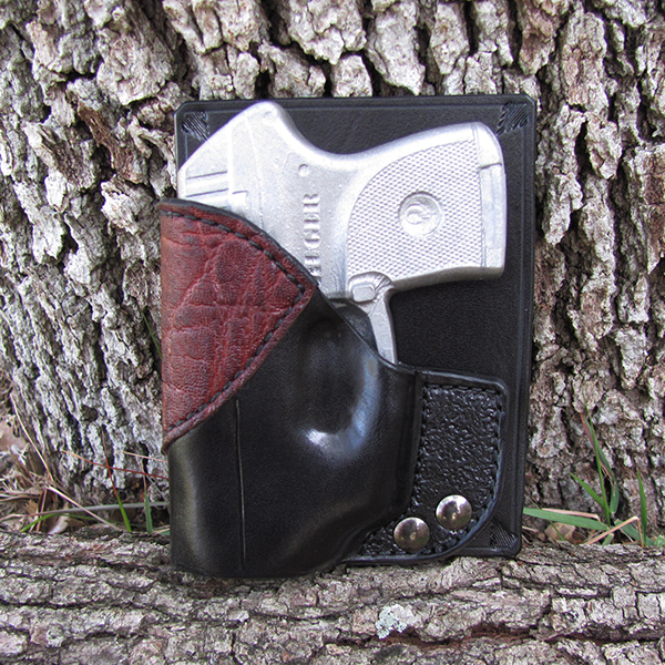 Ruger LCP with LaserMax-Black Cowhide with Elephant Accent