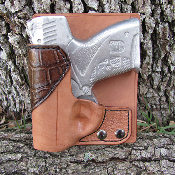 Boberg Back Pocket Holster in Natural Horsehide w/Chocolate Alligator