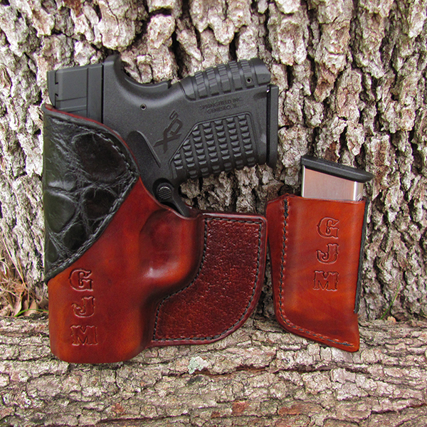 Bear Creek Front Pocket Holster and Mag Clip - Brown Horse Hide, Black Alligator Accent