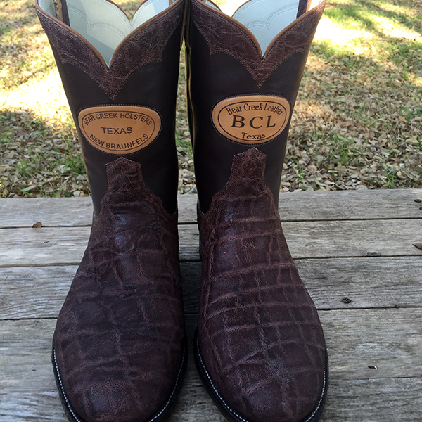 Bear Creek Holsters Custom Boots for display only - Elephant Leather