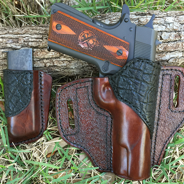 Horse Hide with Black Elephant Outside Waist Band Holster (OWB) with Mag Clip
